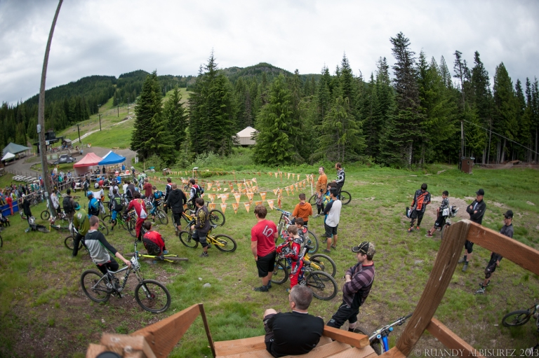 view of the riders meeting before the race.