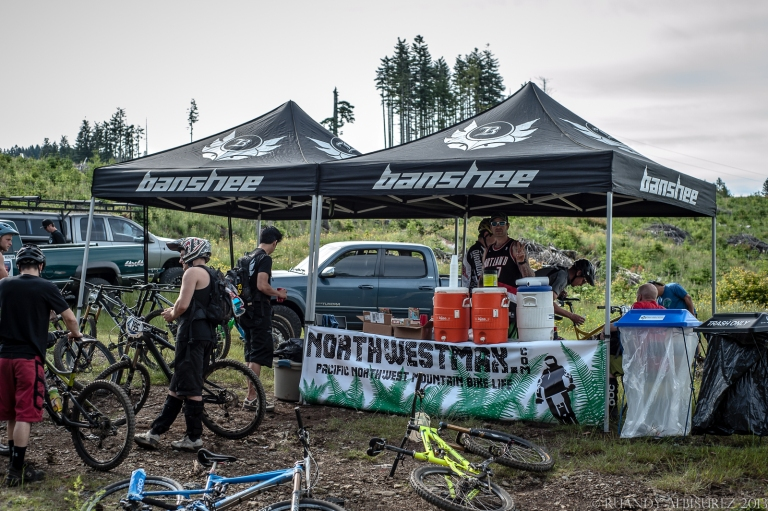 At the bottom of the first climb/top of the second climb my buddy Max held down the Banshee Bikes/Northwest Max rider support tent with electrolyte filled drinks and Clif everything for participants and photographers alike!