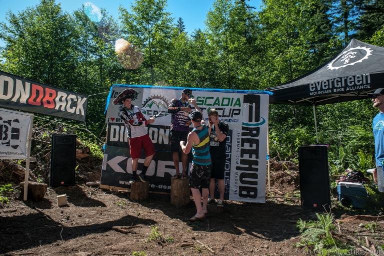 1st - Matt Slaven (Kona Factory Rider), 2nd- Charlie Sponsel (Diamondback DF5), 3rd- Stan Jorgensen (Freehub) all celebrating their victories in style!