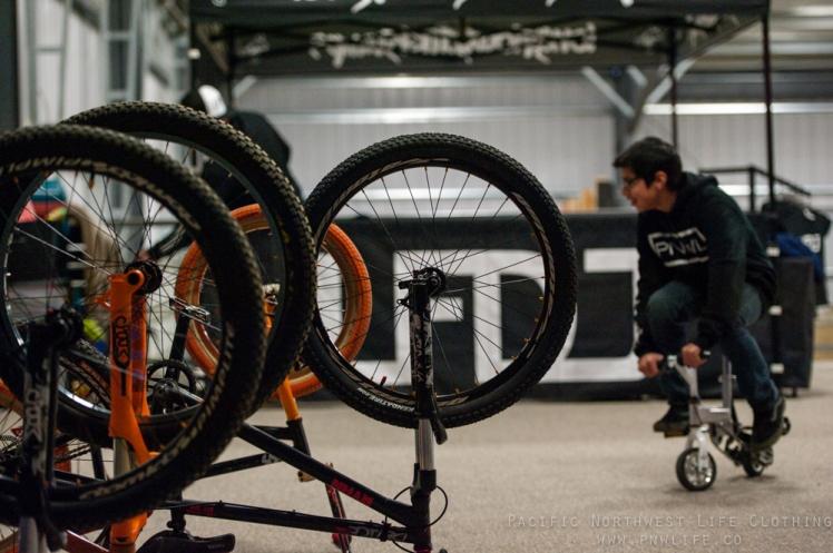 Gordo having fun on the mini bike from LFDJ's booth.