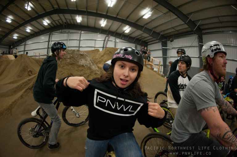 Shelby rocking one of our hoodies and having a good time riding with friends.