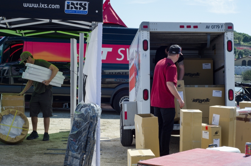Unloading all the merchandise to sell throughout the weekend and gear for our team riders and for the displays.
