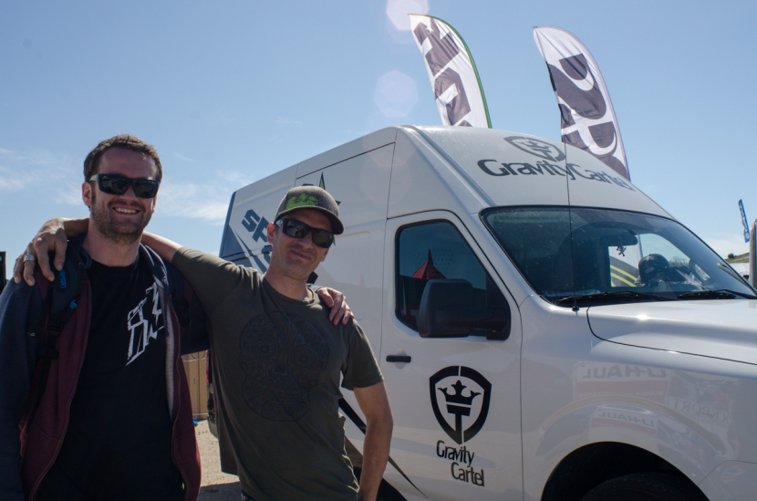 Marcos from iXS and Mike from Spank stop for a quick photo.
