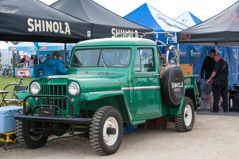 Shinola's sick truck behind their booth.