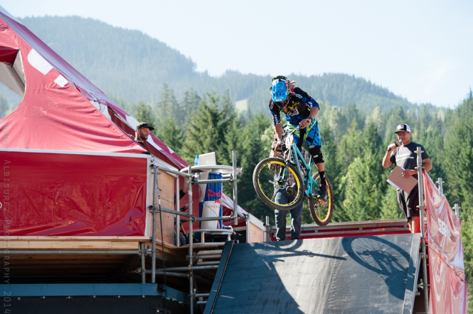 Cedric Gracia getting the Enduro World Series Whistler race underway in style!