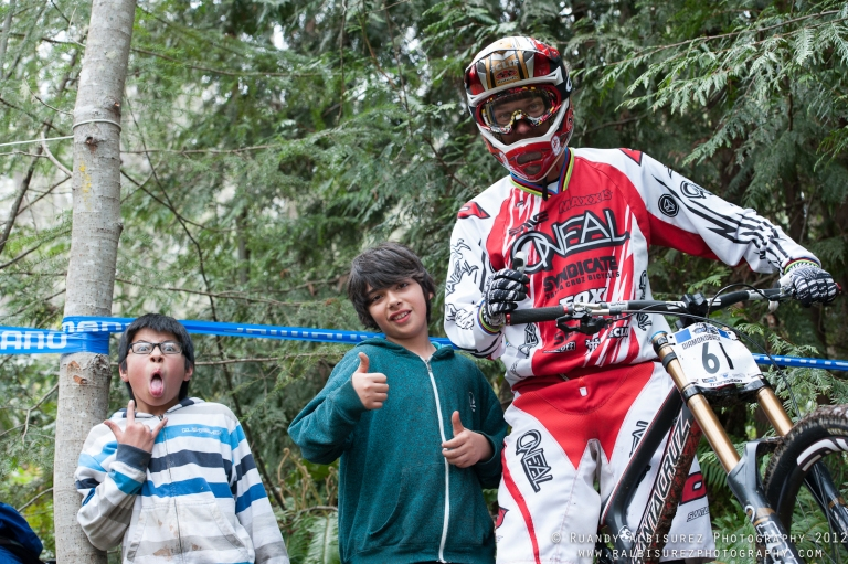 One of Gordo and Joey hanging trackside at the Underworld Cup with Greg Minnaar and being clowns as usual.