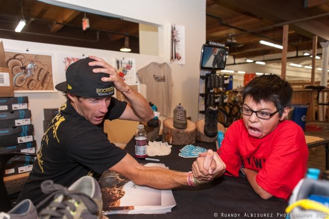 Gordo arm wrestling Cam McCaul earlier this year.